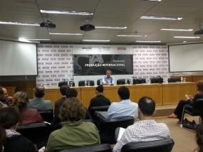 O diretor presidente da Ancine, Manoel Rangel, no Seminiário Produção internacional promovido pela Ancine, Siaesp e Fiesp.